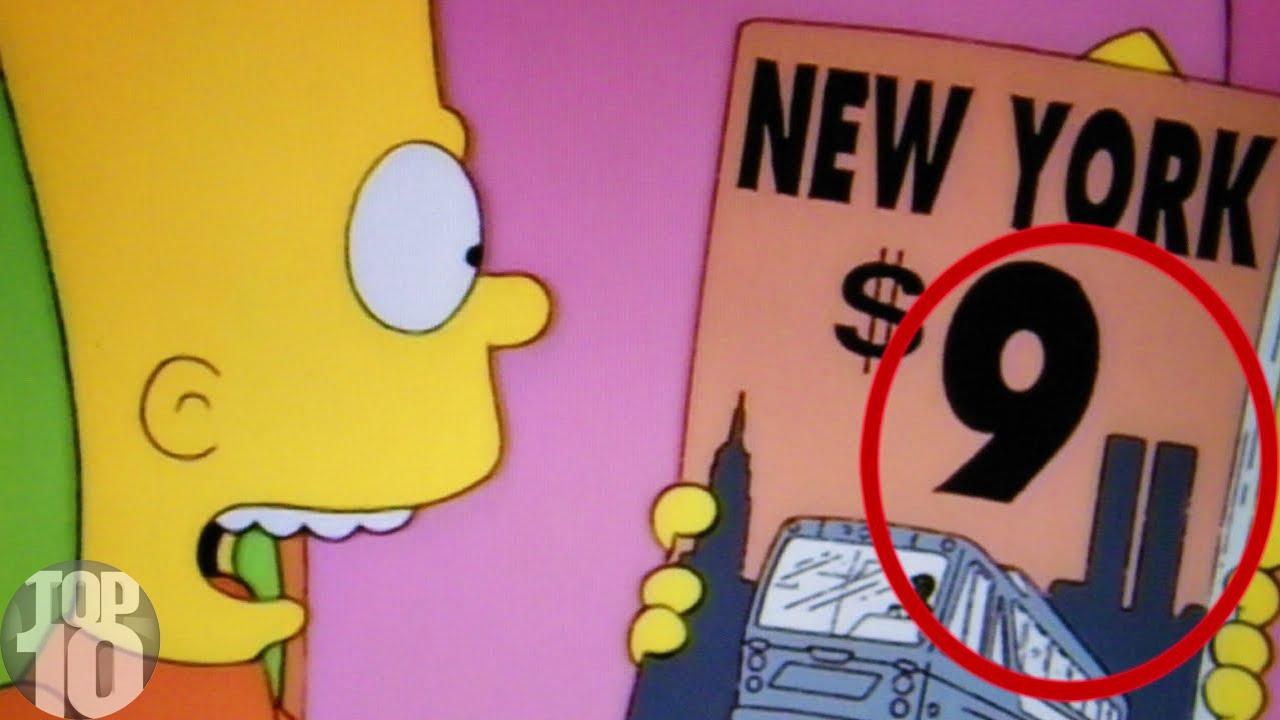 De 9/11 aanslagen zijn in allerlei films en tv-series aangekondigd, zoals hier bij de Simpsons.