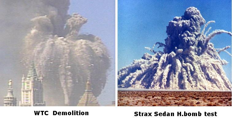 Vergelijk de explosie-wolk van het WTC met de 'paddenstoel'-wolk van een nucleaire explosie.