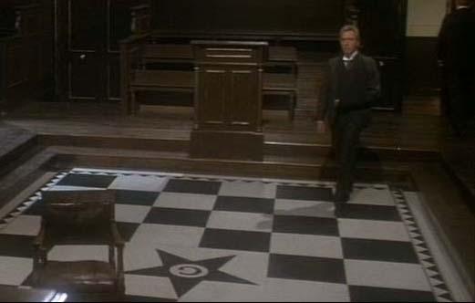 Pentagram masonic tile floor