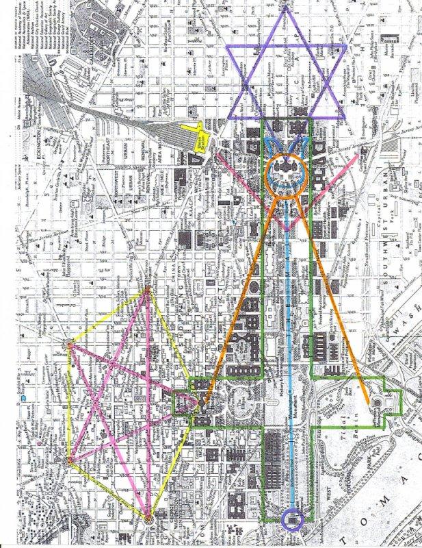 Occulte symbolen: piramide, kruis, pentagon, hexagon