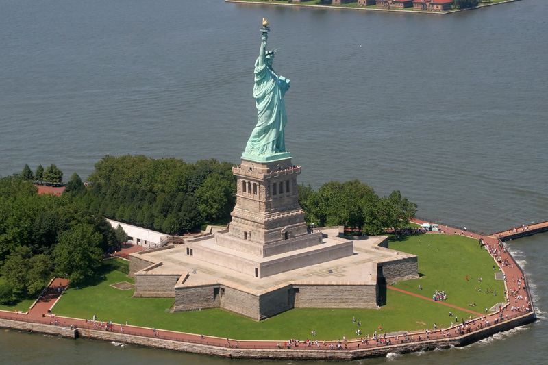 Statue of Liberty Close up Aerial