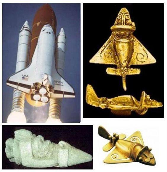 Antieke beeldjes van duizenden jaren oud, onder andere gevonden in Colombia, impliceren dat men destijds al vliegtuigen of ruimtevaartuigen had.