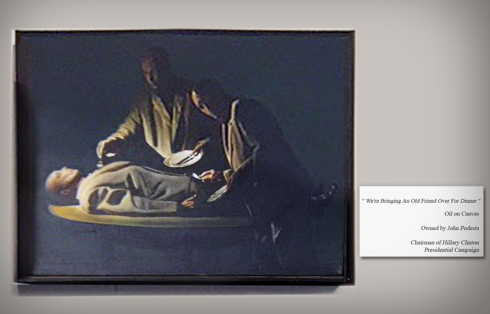 Schilderij op Podesta's werkkamer met referentie naar kannibalisme.