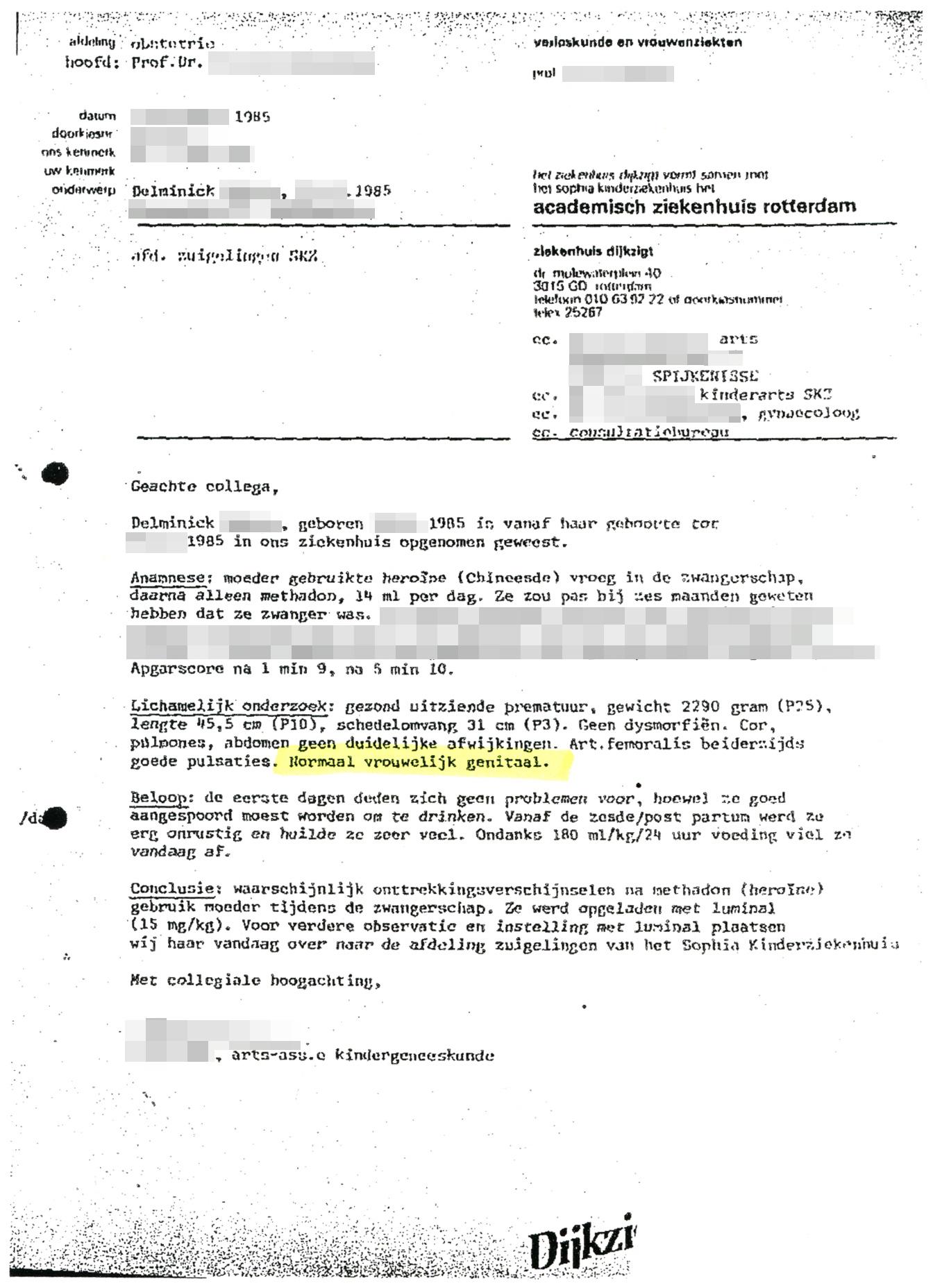 """Overdrachtsbrief van kinderarts waarin duidelijk staat """"normaal vrouwelijk genitaal"""""""