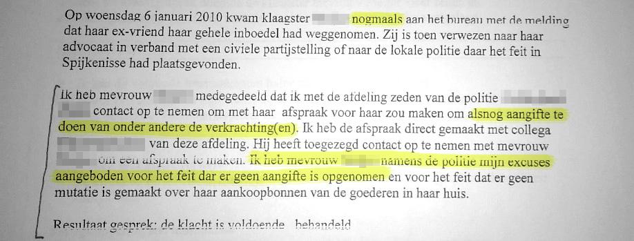 Detail uit een brief van de Politie waarin ze de fouten erkent en excuses aanbiedt.