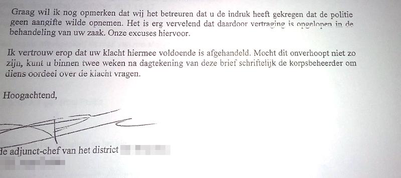 Detail uit een excuusbrief van de Politie.
