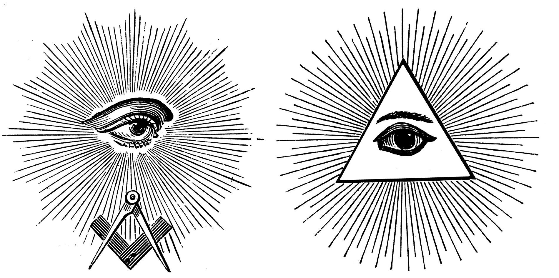 Alziende oog in Vrijmetselaarssymbolen.