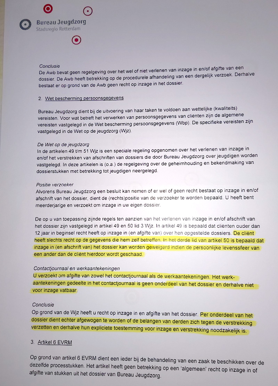 Wettelijke bepaling waarmee Jeugdzorg zich gerechtigd voelt om delen van het dossier achter te houden.