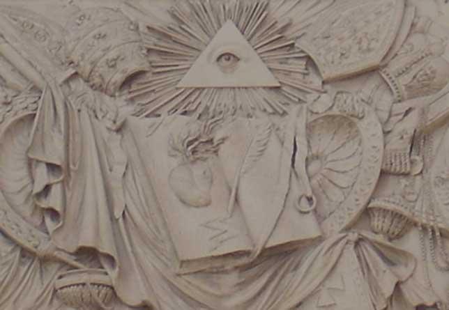 Het alziende oog op de Chigi kapel in Rome.