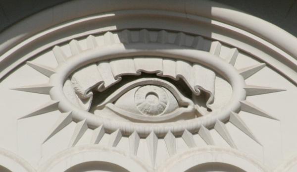 Alziende oog op Mormoonse tempel in Salt Lake City.