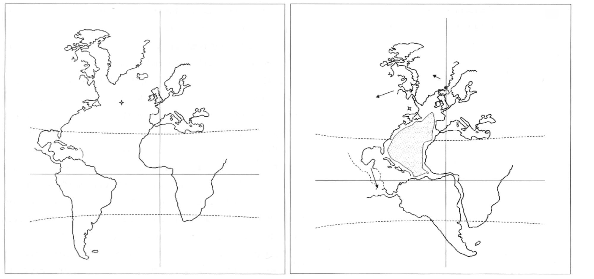 """Illustratie uit het boek """"De verborgen geheimen van de mensheid"""" die het draaipunt van de verwijdering tussen Afrika en Zuid-Amerika illustreert. In zijn onderzoek komt hij ook tot de conclusie dat het Noord-Amerikaanse continent niet alleen middels een lineaire en circulaire beweging verschoven is, maar dat het continent ook opgerekt en ietwat vervormd is."""
