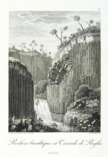 Historische afbeelding van de Giants Causeway. Opvallend zijn de palmbomen, is dit een teken dat er vroeger een ander klimaat was op deze locatie?