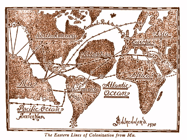 (Fictieve?) kaart uit 1930 met Atlantis en Mu