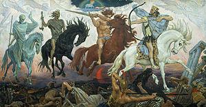 Illustratie van de vier ruiters en de Apocalyps