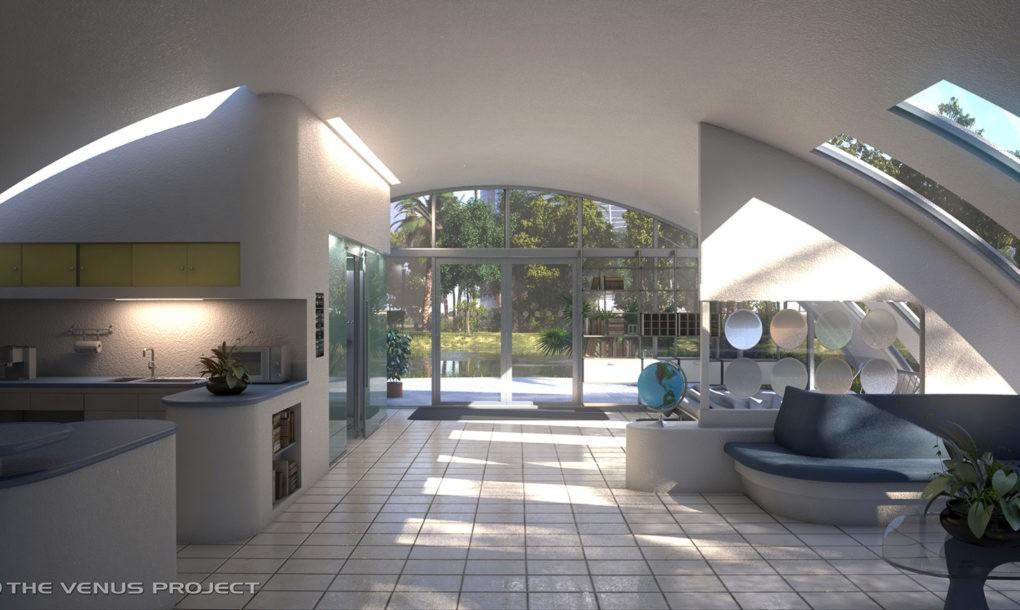 Interieur van een koepelvormige woning