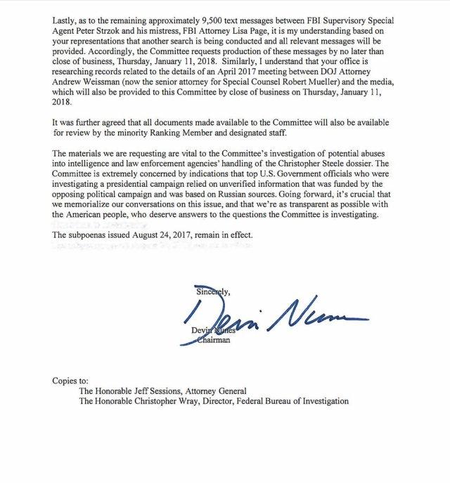 Alle sms-berichten tussen Peter Strzok en Lisa Page zijn onderdeel van de dagvaarding waarmee het House Intelligence Committee inzage in het dossier wil krijgen.