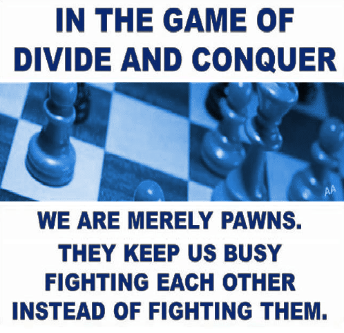 Divide and conquer. We are merely pawns. They keep us busy fighting each other instead of fighting them.