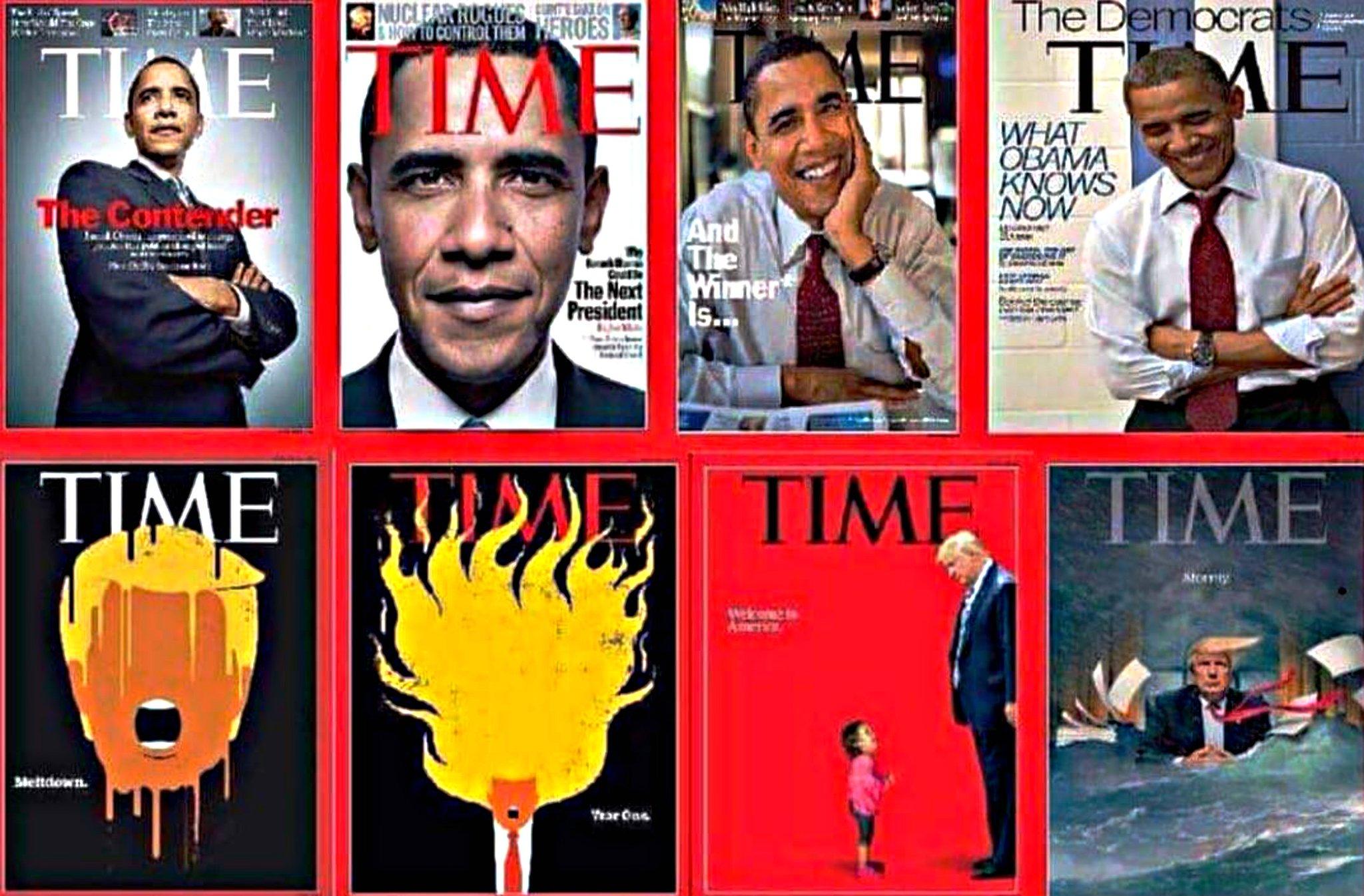 Diverse omslagen van Time Magazine, laten duidelijk het verschil zien hoe Obama afgebeeld werd en hoe Trump geportretteerd wordt.