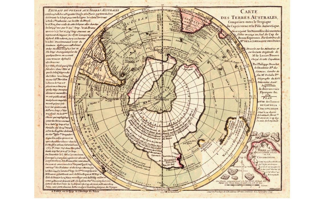 Kaart van Bauche uit 1737 toont waterweg tussen de archipel van Antarctica.