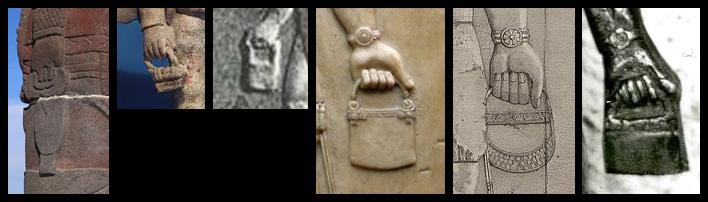 Opvallende overeenkomsten tussen beelden uit Centraal- en Zuid-Amerika en Mesopotamië. Bolivia (uiterst links), Mexico (2e foto), Mesopotamië (3e t/m 5e foto), Ecuador uiterst rechts.