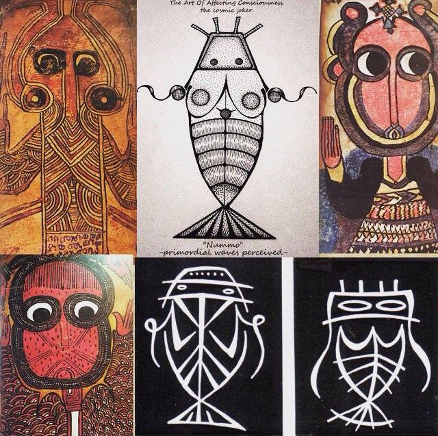 De Dogonmensen delen de legende van de eerste mensen op aarde. Deze wezens waren half vis, half mens. In de Mesopotamische mythologie was Dagon of Dagan de visgod, een vruchtbaarheidsgod en god van het koren en de landbouw.