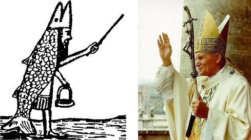 Links: illustratie afgeleid van Soemerische mythologische figuur Oannes, half vis, half mens. Rechts: het uiterlijk van kerkelijke leiders binnen Katholieke kerk, afgeleid van Oannes-figuur.
