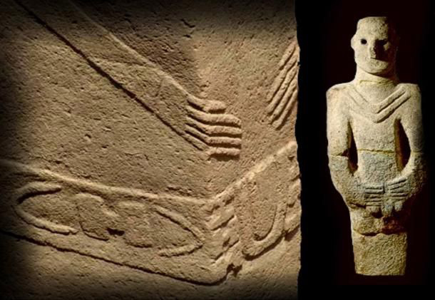 Beeld uit Göbekli Tepe Turkije, 12.000 jaar oud, lijkt verdacht veel op het beeld 'El Fraile' uit Bolivia. Bij beide rechthoekige beelden vouwen de handen over de buik en draagt de figuur een gedecoreerde riem.