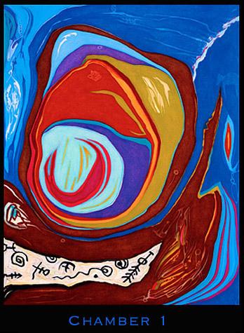 Schilderij in de eerste kamer. Sommige schilderijen zoals dit voorbeeld zijn abstract. Ook in de schilderijen staan de pictogrammen die Dr. Neruda ontcijferd heeft.