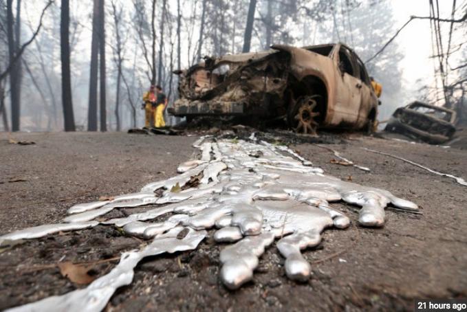 Gesmolten metalen, maar de bomen zijn niet verbrand.
