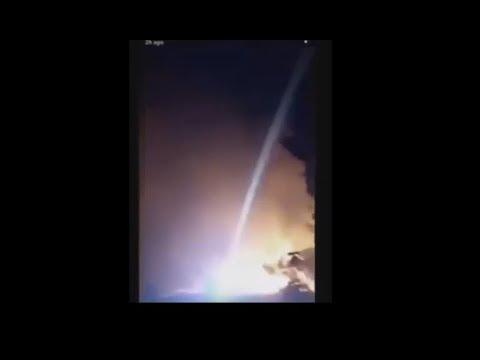Foto van laserstralen boven het getroffen gebied.