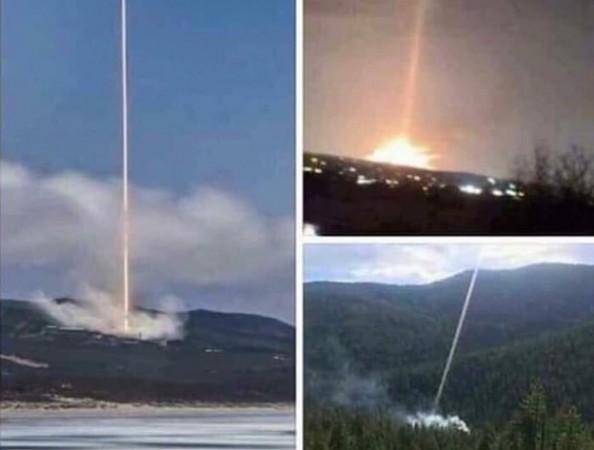 Foto's van laserstralen, die een van de oorzaken van de branden lijken te zijn.