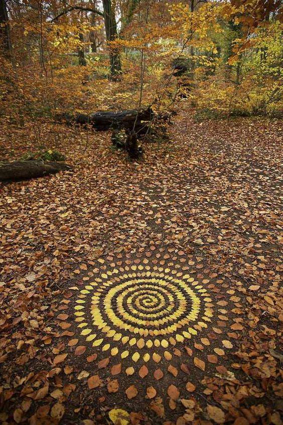 Collage van bladeren van Andy Goldsworthy.