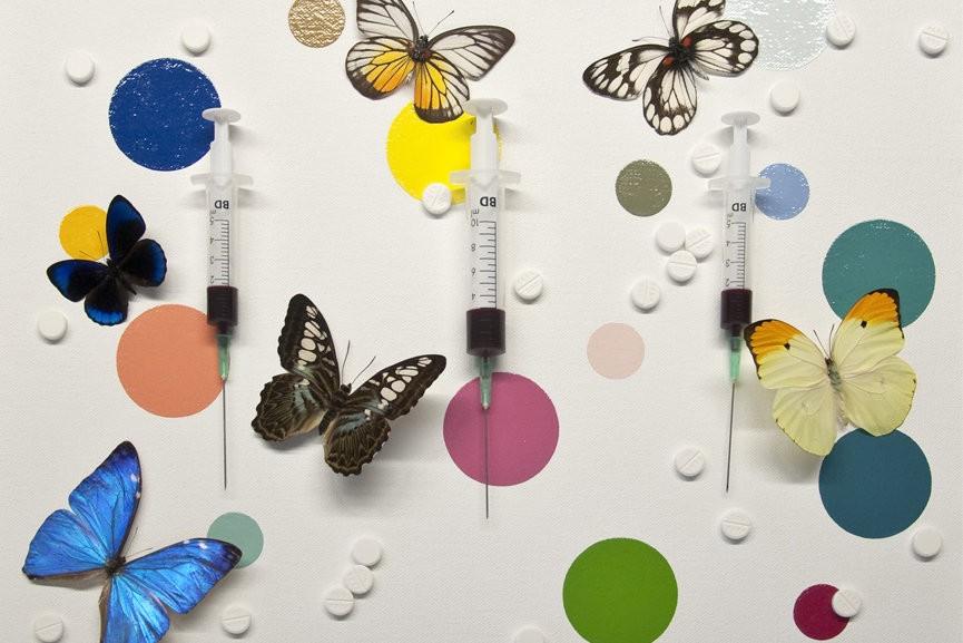 Damien Hirst heeft talloze kunstwerken gemaakt met vlinders en over de farmaceutische industrie. In dit kunstwerk zijn deze twee thema's gecombineerd.