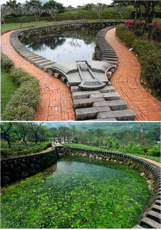 De 'Zipper Pond' is een creatie van de Taiwanese kunstenaar Ju Ming.