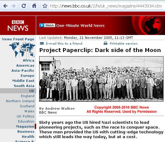 Honderden Nazi ingenieurs en wetenschappers emigreerden na WWII naar de VS.