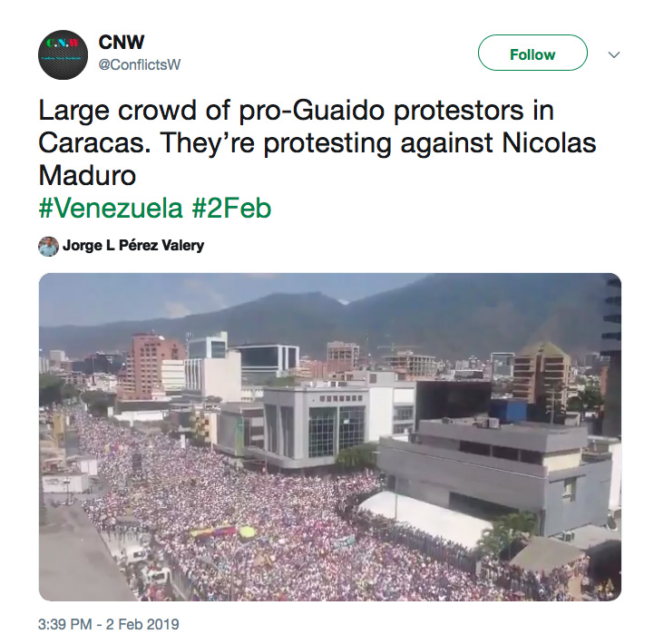 Pro-Guaidó demonstratie op 2 februari 2019
