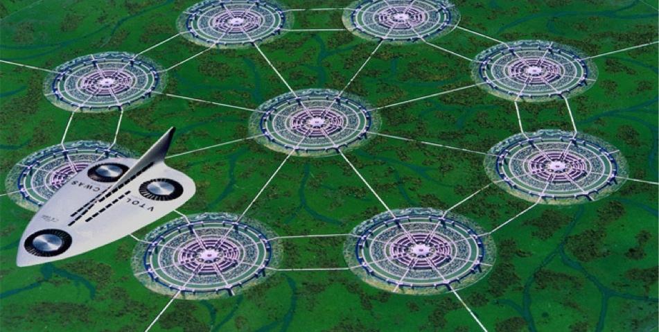 Een efficiënt netwerk van cirkelvormige steden.