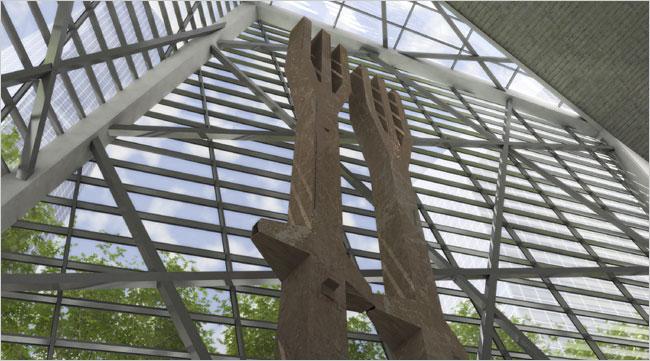 Dubbele drietand als monument in 9/11 Memorial in New York.