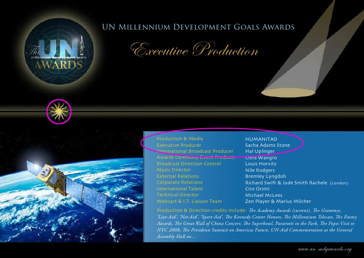Sacha Stone was the Executive Producer of the Millennium Development Goals Awards which launched at the UN General Assembly in New York.