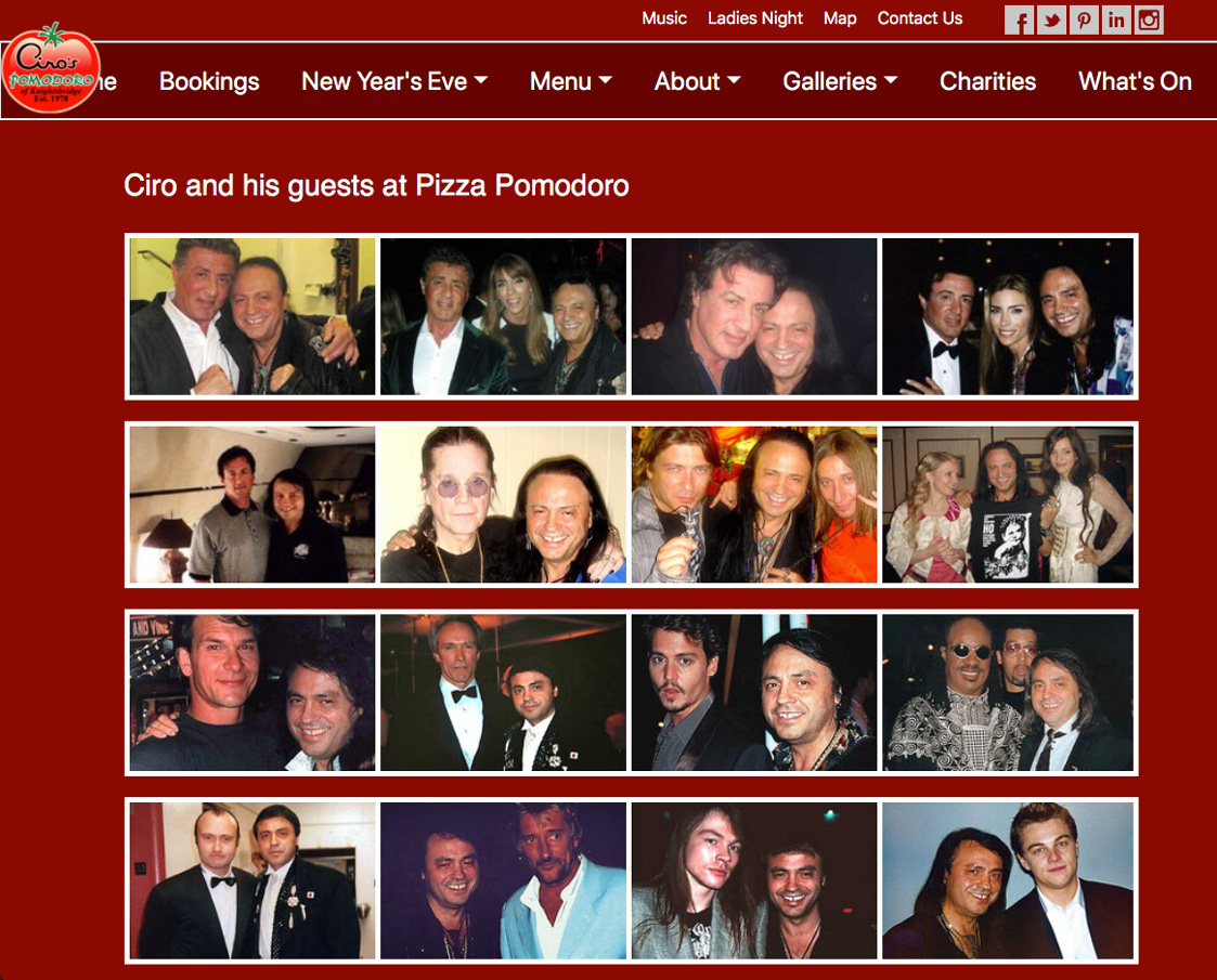 "Pizza Pomodoro: a meeting place for the 'rich and famous', for ""pizza and entertainment."""