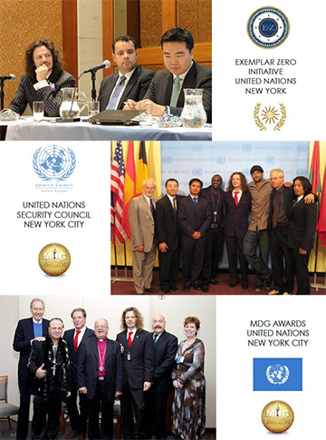 Sacha Stone and Ciro Orsini present at UN MDG Awards and meetings.