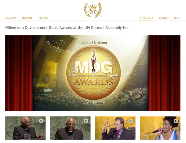 UN's MDG Awards (Millennium Development Goals) promoted on Humanitad website.