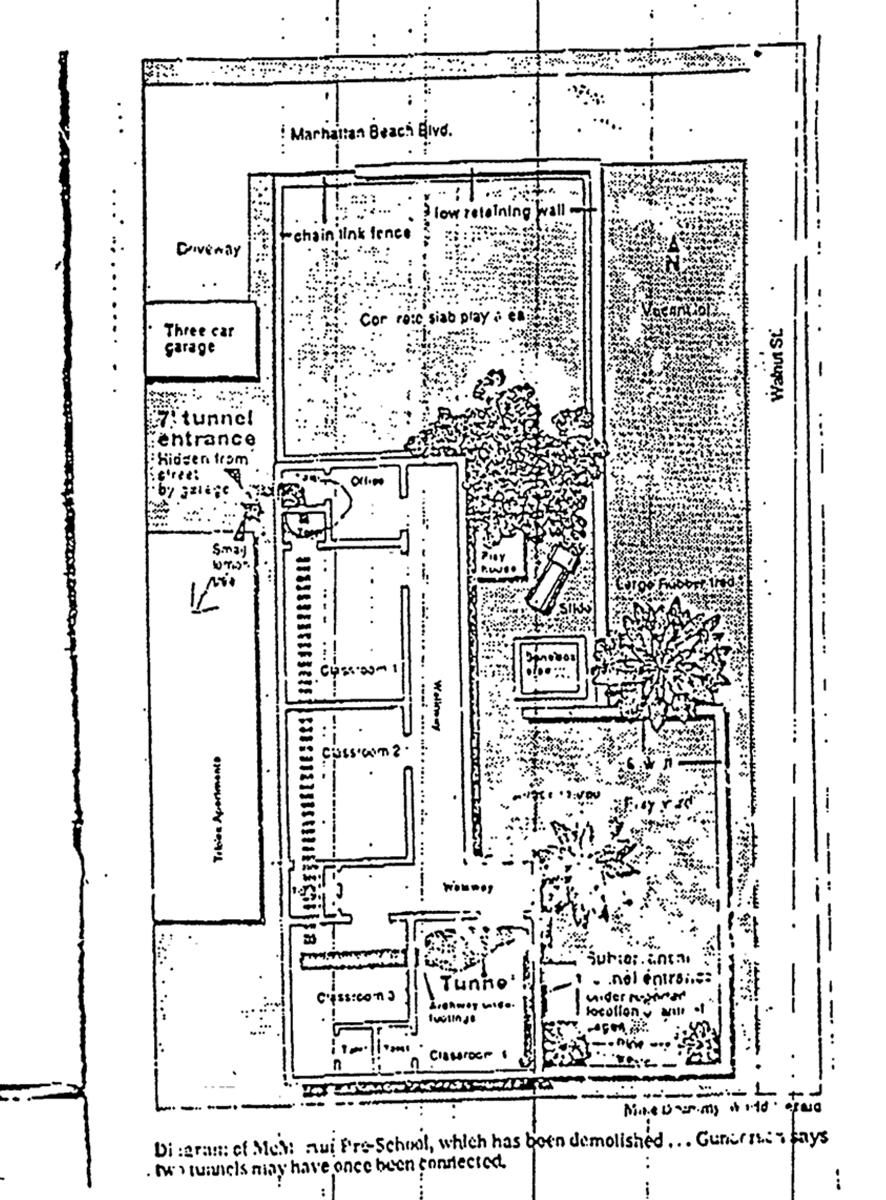 Plattegrond van McMartin kleuterschool, met bijbehorende gedetailleerde beschrijving van tunnels zat in het dossier van de FBI.