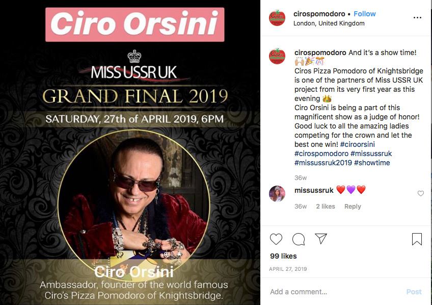 Ciro Orsini is a regular juror Of the Miss USSR UK election.