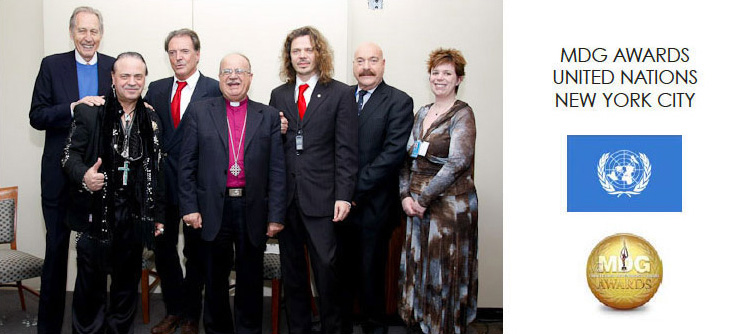 Hal Uplinger, Ciro Orsini, Armand Assante, Bishop Riah, Sacha Stone, Michael Jacobson & Heidi Walters during Humanitad's presentation of the Millenium Development Goals at the UN in 2009.