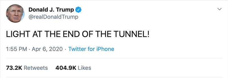 Trump tweet light end of tunnel
