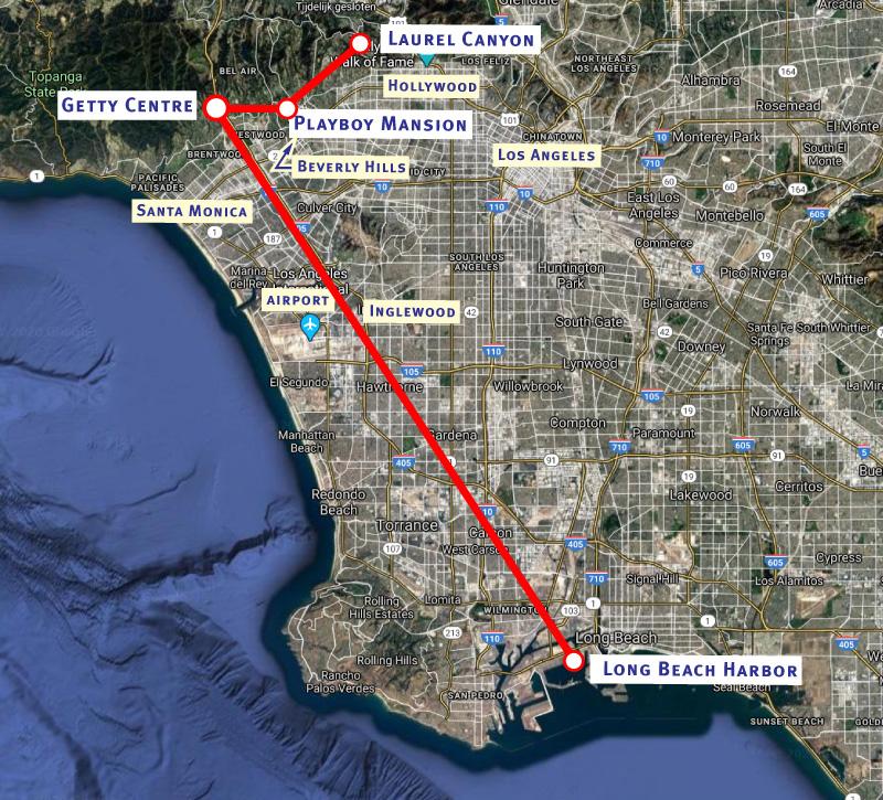 De DUMB onder Los Angeles loopt vanuit Long Beach Harbor in het zuiden naar het Getty Centre, met een vertakking naar het Playboy Mansion en Laurel Canyon in het noordoosten.