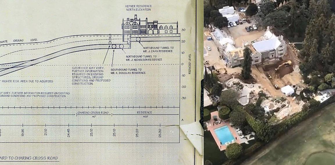 Op blauwdruk is te zien dat er onder Hugh Hefner's Playboy Mansions tunnels waren. Er vinden nu opgravingen plaats.