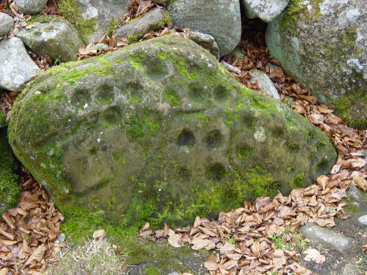 Bekervormige markeringen Clava Cairns in Schotland.