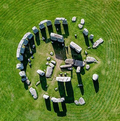 Bovenaanzicht van Stonehenge.